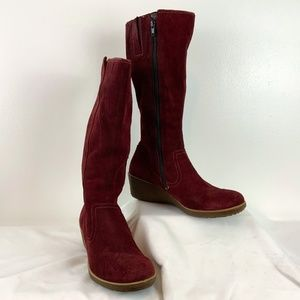 Ecco Wine-Coloured Suede Wedge Knee-High Boots